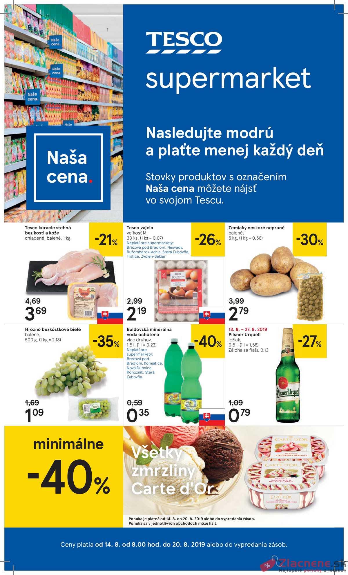 Leták Tesco - Tesco supermarkety od 14.8. do 20.8.2019 - strana 1