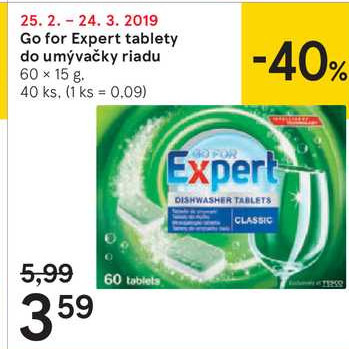Go for Expert tablety do umýžvačky riadu, 60x 15 g