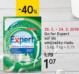Go for Expert soľ do umývačky riadu, 1,5 kg
