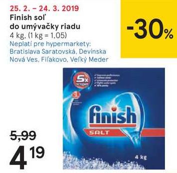 Finish soľ do umývačky riadu, 4 kg